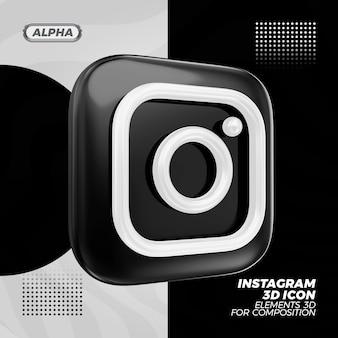 Инстаграм черный 3d рендеринг иконок