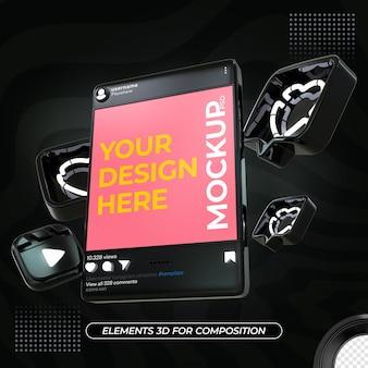 Instagram 블랙 포스트 모형 디자인 렌더링