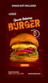 Instagram burger social media stories template design
