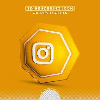 3dレンダリングのinstagramボタンソーシャルメディア