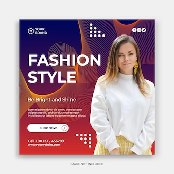 Instagram fashion sale banner template or square flyer collection
