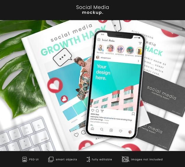 ソーシャルメディアブランディングのためのスマートフォン付きinstagramフィードモックアップ