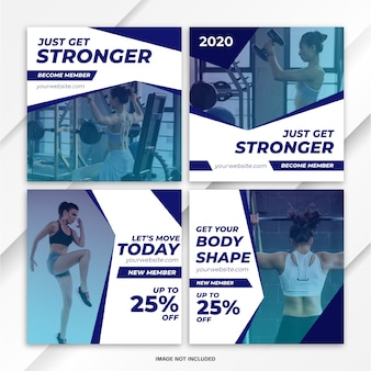 Instagram feed post bundle sport template