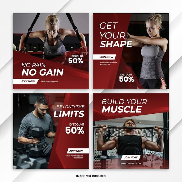 Instagram feed post фитнес спорт шаблон