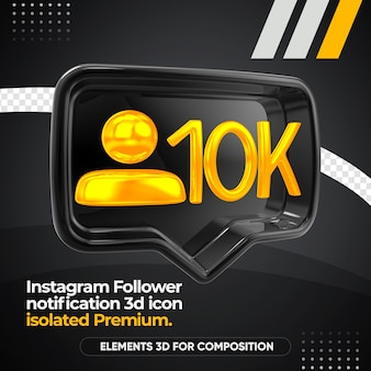 Instagram follower notification left render icon isolated