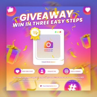 Instagram giveaway contest promotion and steps social media post template with mockup