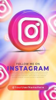 Instagram glossy logo and social media icons story