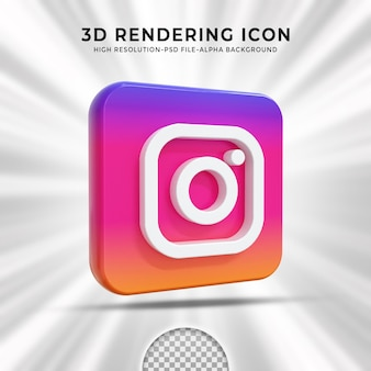 Instagram glossy logo and social media icons