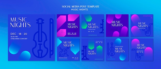 Instagram gradient posts collection for music nights festival