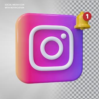 벨 알림이 있는 instagram 아이콘 3d 개념