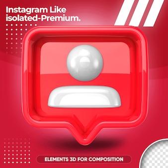 Значок instagram, изолированные в 3d визуализации проектирования