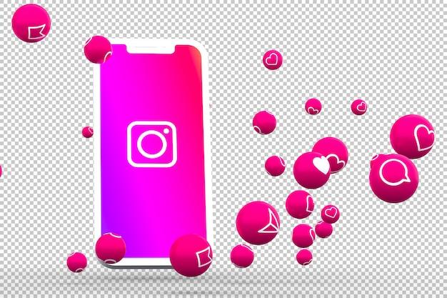 画面のスマートフォンまたはモバイル上のinstagramアイコンとinstagramの反応は3dレンダリングが大好き