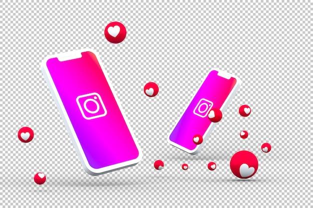 화면 스마트 폰 또는 모바일의 instagram 아이콘 및 instagram 반응은 3d 렌더링을 좋아합니다.
