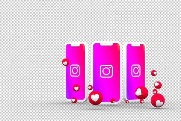 Значок instagram на экране смартфона или мобильного устройства, а реакции instagram любят 3d-рендеринг