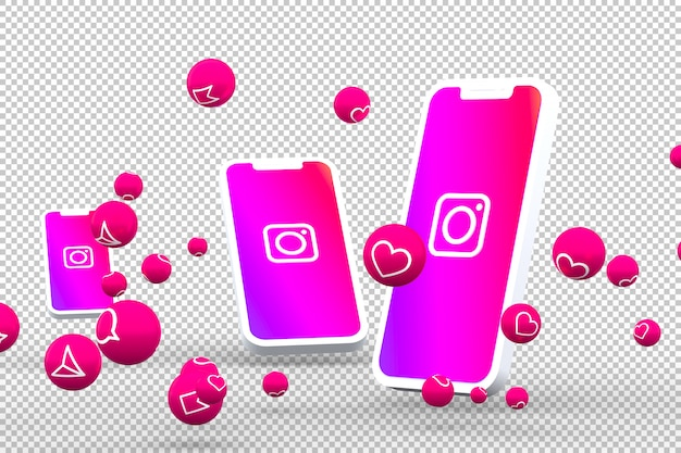 Instagram icon on screen smartphone or mobile and instagram reactions love 3d render