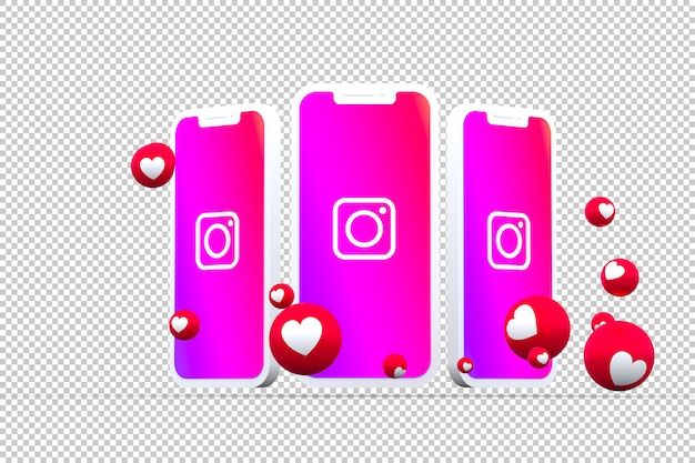 Instagram icon on smartphone screens with emojis