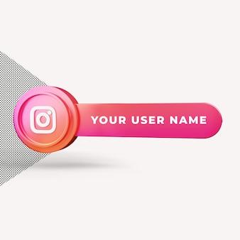 3d 렌더링을 배치하는 instagram 아이콘 사용자 이름