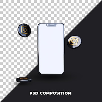 Instagram icons with phone 3d rendering isolated