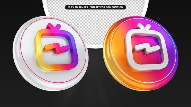 Instagram igtv 3d render icon rendering