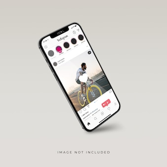 Instagram interface on 3d realistic rendering of phone mockup