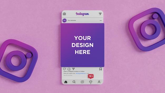 ソーシャルメディアポストモックアップ3dレンダリング用のinstagramインターフェース