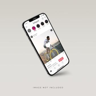 電話モックアップの3dリアルレンダリングのinstagramインターフェース