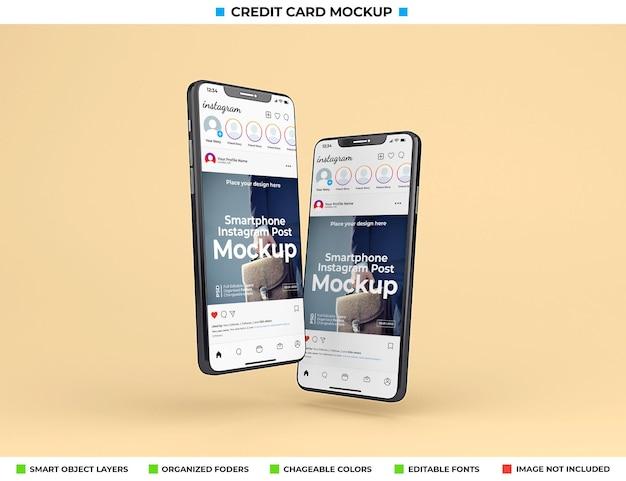 最新の電話スクリーンモックアップのinstagramインターフェース
