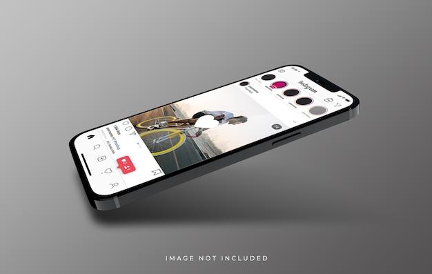新しい電話のモックアップフローティングのinstagramインターフェイス