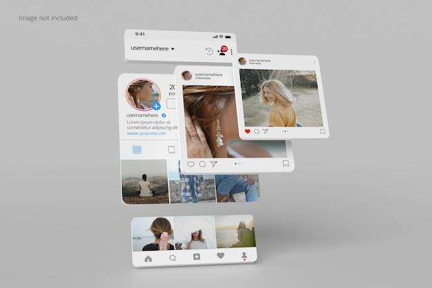 Профиль интерфейса instagram и макет публикации
