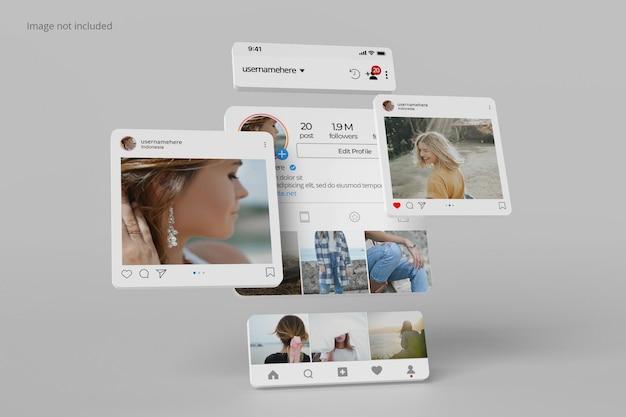 Instagram 인터페이스 프로필 및 게시물 모형