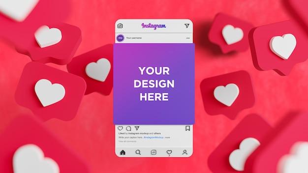 ソーシャルメディア投稿モックアップの愛の反応とinstagramのインターフェイス