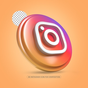 Instagram 격리 된 3d 렌더링 된 아이콘