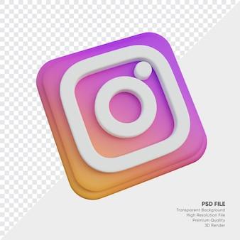 고립 된 둥근 모서리 사각형에 instagram 아이소메트릭 3d 스타일 로고 개념 아이콘