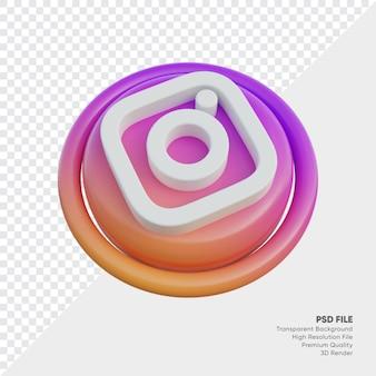절연 라운드에서 instagram 아이소메트릭 3d 스타일 로고 개념 아이콘