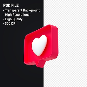 Instagram like 3d icon or facebook love emoji notifications 3d rendering isolated Premium Psd