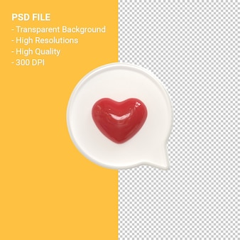 Instagram like 3d icon or facebook love emoji notifications 3d rendering isolated