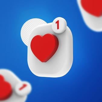 Инстаграм как 3d значок любви рендеринг уведомлений смайликов изолированные
