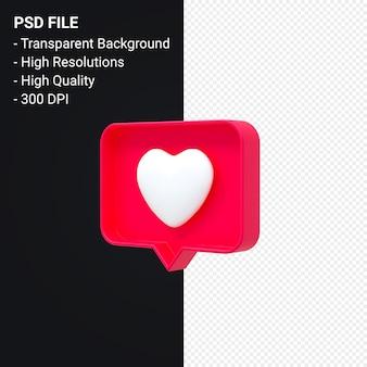 Instagram как значок 3d или facebook любовь смайлики уведомления 3d-рендеринг изолированы