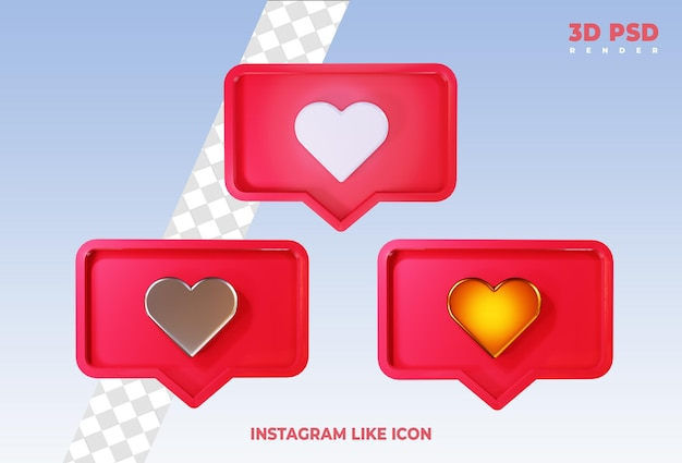 Instagramのようなまたはfacebookの愛の絵文字通知3dレンダリングアイコンが分離されました