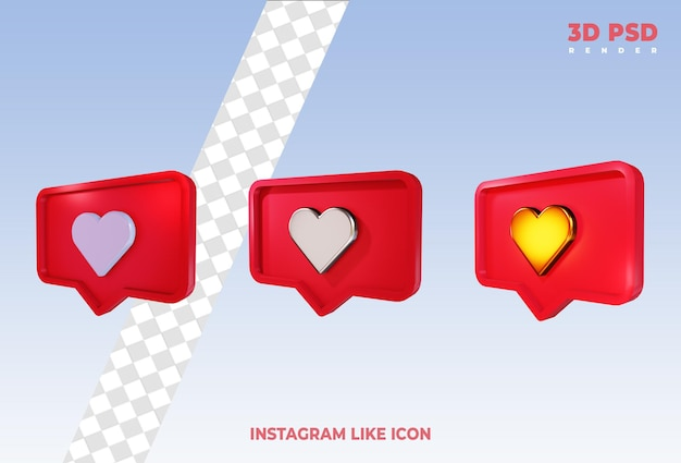 Instagram лайк или facebook любовь смайлики уведомления 3d визуализации иконки изолированные Premium Psd