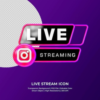 Instagram live streaming 3d render icon badge isolated