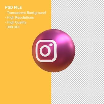 Логотип instagram 3d визуализация символа воздушного шара изолированы