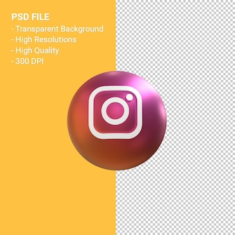 Instagram logo 3d balloon symbol rendering isolated
