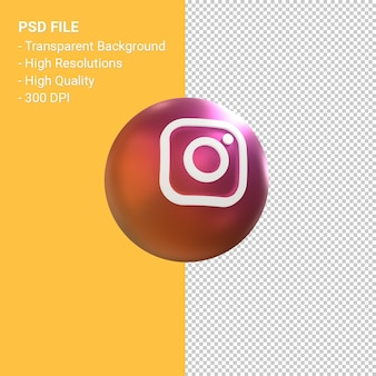 Instagram logo 3d balloon symbol rendering isolated