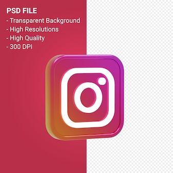 Instagram logo 3d icon rendering isolated