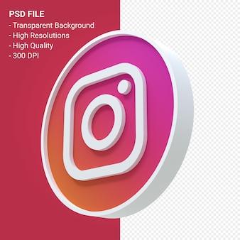 Instagramのロゴの3dアイコンレンダリングが分離されました