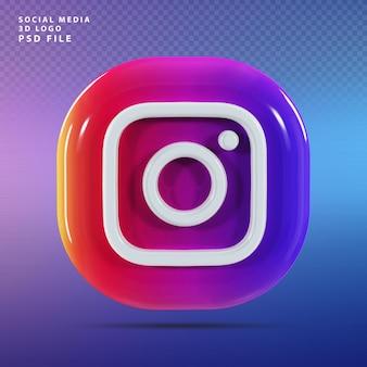 Instagram 로고 3d 렌더링 럭셔리