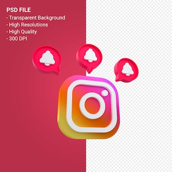 Instagram logo in 3d rendering icon