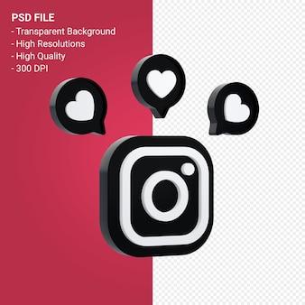 Instagram logo in 3d rendering isolated