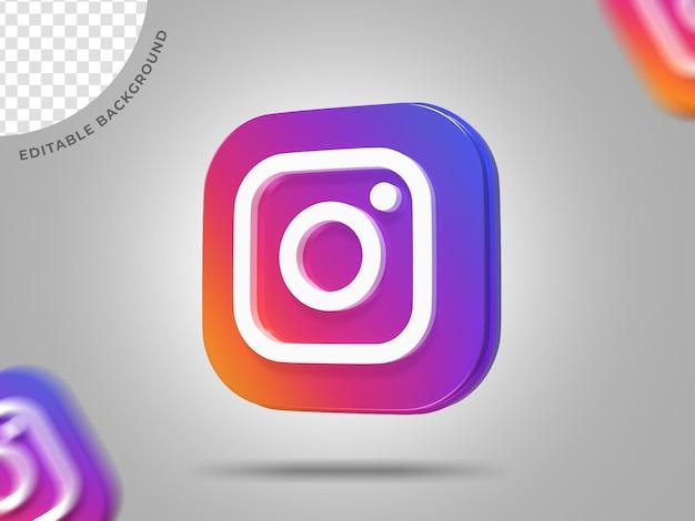 Instagram логотип 3d фон социальных сетей редактируемый